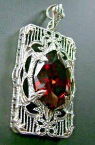 Marquise 6ct Garnet CZ Art Deco Sterling Silver Pendant Custom-Made)*