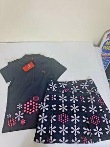 Puma Golf Tennis 2 Pc Outfit Shirt Skort Skirt Pleated Black Pink Purple SZ S