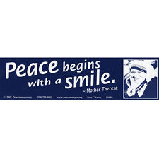 S085 - Mother Teresa quote 'Peace Begins with a Smile' Large Bumper Sticker