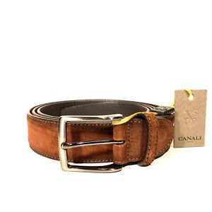 CANALI Mens Suede Leather Stitched Belt Rust Brown One Size 120cm (MSRP $250)