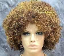 Short Curly Layered Golden Blonde Auburn Brown Mix Full Synthetic Wig Hair Piece