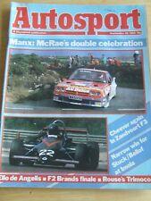 AUTOSPORT MAGAZINE SEP 1984 MANX MCRAE'S DOUBLE CELEBRATION CHEEVER F3 TRIMOCO