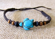 BLUE TURTLE BRACELET ANKLET CHARM BROWN COTTON HEMP WOOD BEADS SURF BEACH BOHO