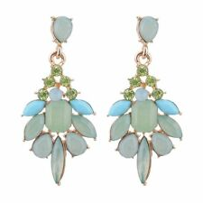 Ear Stud Women Gemstone Water Drops Earrings Jelly Color Rhinestone Resin