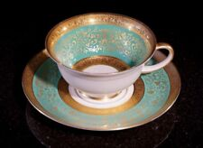 Stunning Antique Rosenthal Selb Plossberg Gold Encrusted Aida Teacup And Saucer