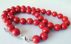 8mm Coral Red South Sea Shell Pearl Round Gems Beads Necklace AAA+