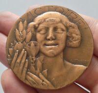 """Belle médaille en bronze Art déco, signé Morlon, """"Victoire"""""""