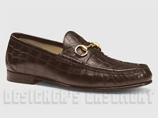 GUCCI Men 41.5 brown CAIMAN alligator gold HORSEBIT loafers shoes NIB Auth $2.4K