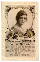 Antique RPPC postcard Birthday card Dear Sister portrait pretty young lady