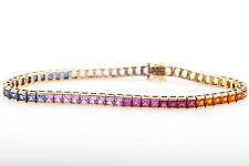 Estate $5000 10ct Natural Blue Pink Princess Cut SAPPHIRE 10k Gold Bracelet