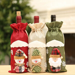 Christmas Red Wine Bottle Cover Xmas Dinner Party Santa Claus Snowman Gift B_cd