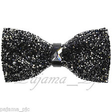 Fashion Black Diamonds Glitters Rhinstone TUXEDO BOW TIE Bowtie Wedding Party