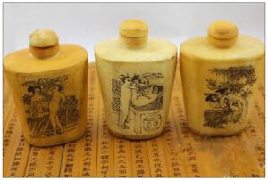 1 Piece Handmade sexy Painted Bone Crafted Snuff Bottle Snuffbox Nice Handicraft