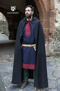Medieval Hooded Cape Coat Hibernus /Larp - Black By Burgschneider