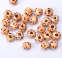 100pcs Leopard grain wood round  loose bead spacer charm beads 10mm