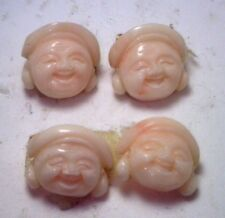 NOS Antique Genuine Undyed Coral Laughing Buddha Man Matching Pair 2 Stones OK14