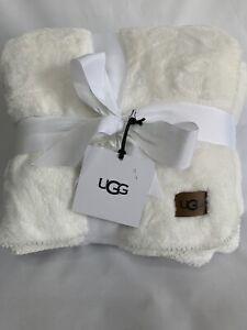 """NEW UGG Whitecap Plush Flannel Oversized Throw Blanket SNOW WHITE 50"""" X 70"""""""
