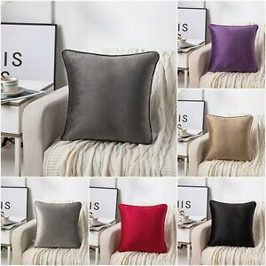 "French Velvet Piped Cushion Covers Plush Plain Soft 43 x 43 cm / 17x17"""