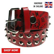 """38mm Red Conical Studded Printed Real Leather Made In England Sizes 28""""-44"""""""