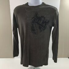 AFFLICTION Mens Long Sleeve T Shirt Size Medium Brown Distressed Graphic Tee