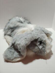 "A3 LARGE Vintage Fiesta  Bunny Rabbit Plush 15"" Long Hair Gray White 1989"