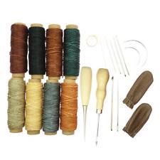 22 Stück Leder Nähwerkzeuge Kit Wachsfaden Nadeln Stitching Ahle für DIY