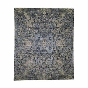"""8'x9'9"""" Abstract Design Wool And Silk Hand-Knotted Modern Rug R44621"""