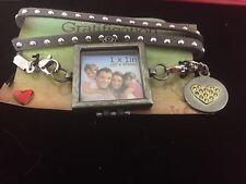 Bracelet Gray Leather Rhinestone Strap With Photo Locket Square Heart Charm Teen