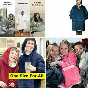 Warm Oversized Hoodie Blanket Christmas Print Plush Sweatshirt Fleece Blanket UK