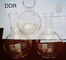 2 Stück Kolben 500ml DDR Glas Labor Chemie Kolben Zubehör