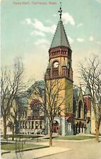 Fairhaven Massachusetts~Town Hall~Clock Tower~1908 Postcard