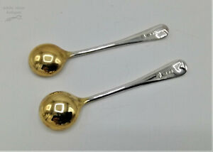 Pair of Solid Silver Old English Pattern Cruet Spoons w/ Gilt Bowls, London 1987