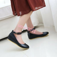 Womens stylish Mary Jane Ankle strappy wedge Heels Buckle Casual shoes Date Size