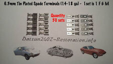 Tin plated spade terminal  (6.3mm for 14-18 ga) Datsun 240z/260z/280z - 50 sets