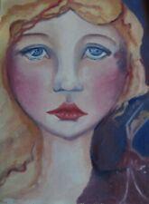 """ORIGINAL Oil 9""""x""""12 surreal painting portrait girl and dancer Framed Signed ART"""