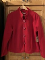 NWT COLDWATER CREEK OTTOMAN KNIT JACKET RED SIZE PL