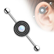 Center Surgical Steel Industrial Barbell Synthetic Opal Antique Silver Shield