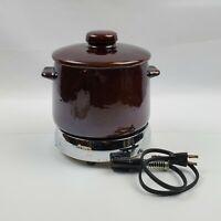 Vintage WEST BEND 2 Qt Electric Bean Pot Stoneware Slow Cooker Brown W/Lid