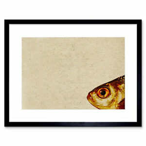 Fish Head Drawing Yellow Beige Art Picture Framed Wall Art Print