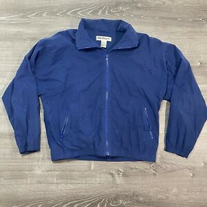Norm Thompson Men's Athletic Jacket Blue Microsuede Windbreaker Size M Retro 90s