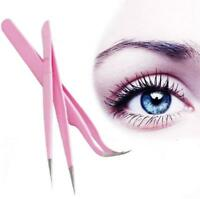 Straight/Curved Stainless Steel Clip Tweezers Eyelash Extension Nail Art Tool