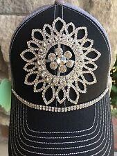 NEW women's Black And gray Bling Baseball Hat, trucker hat. Hat. cap.