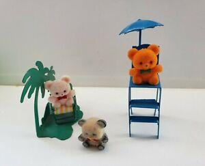 RUSS Fuzzy Flocked Mini Teddy Bears  On the Beach Taiwan ROC
