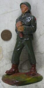 Vintage 1950 J H Miller Chalkware WWII Soldier American Flag Barrier No Flag