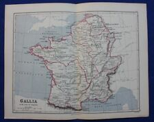 Original antique map ANCIENT FRANCE, GALLIA IN THE TIME OF AUGUSTUS, Weller 1877