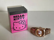 NEW! SANRIO HELLO KITTY ROSE GOLD TONE CRYSTALS BRACELET WATCH HKAQ2322 $65 SALE