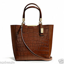 Paypal Coach Bag F28291 MADISON CROC EMBOSSED MINI NORTH/SOUTH TOTE Brown #COD