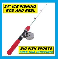 FISHON ICE Fishing Rod And Reel Combo 2' Length Medium 2 Piece FREE USA SHIP!