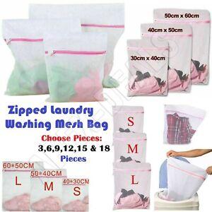 3/6/9/18x Laundry Washing Mesh Net Zipped Wash Bag Lingerie Underwear Bra Socks.