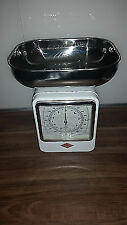 Wesco Retro Kitchen Scales Clock Measuring Bowl Stainless Steel Tray 4kg White